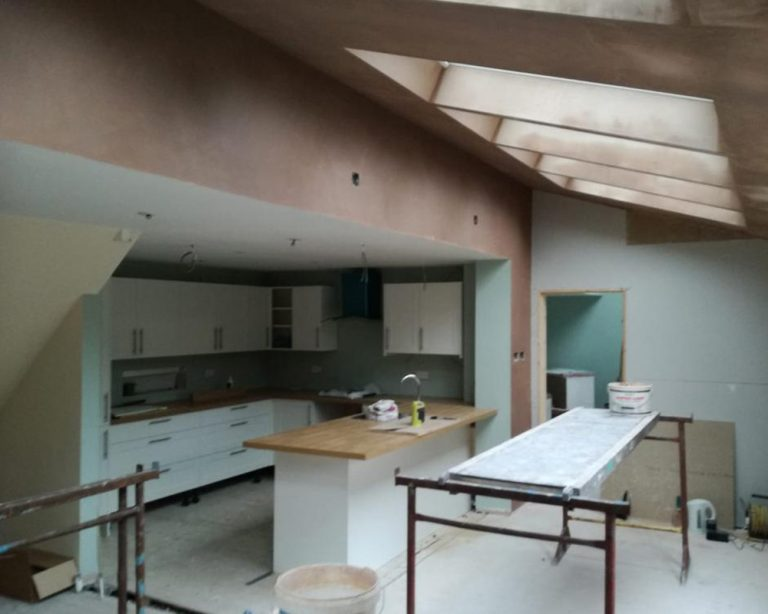 Inside kitchen after plastering during a house extension