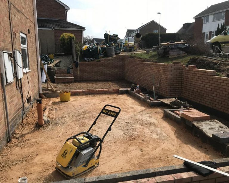 House extension showing the foundations and early brickwork